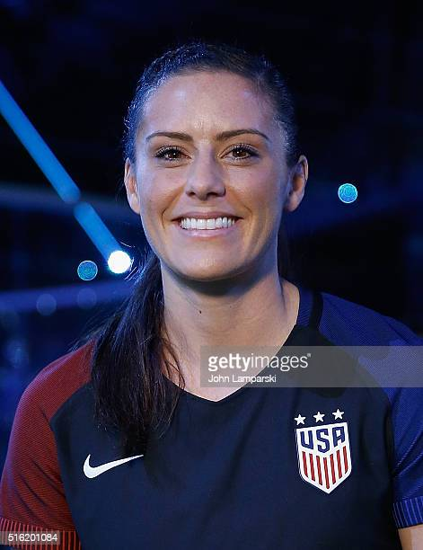 USA professional soccer player Ali Krieger attends the 2016 Olympics Uniforms for USA and International Federations debut at Skylight at Moynihan...