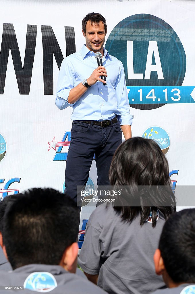 Professional soccer player Carlo Cudicini of the Los Angeles Galaxy attends an announcement for professional basketball player Steve Nash's charity soccer events at The Salvation Army Red Shield Youth & Community Center on March 20, 2013 in Los Angeles, California.