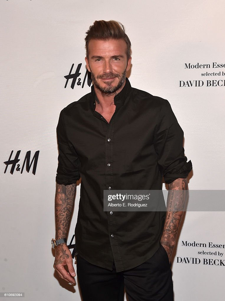 Professional soccer player David Beckham launches the new H&M Modern Essentials Campaign at H&M on September 26, 2016 in Los Angeles, California.