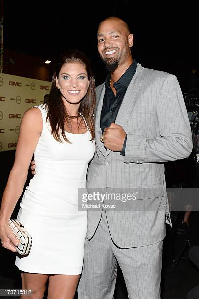 """Professional soccer player Hope Solo and Professional football player Jerramy Stevens attend ESPN the Magazine 5th annual """"Body Issue"""" party at Lure..."""
