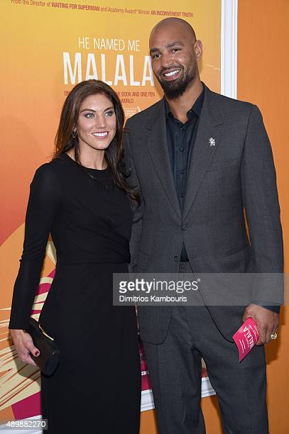 Professional soccer player Hope Solo and professional football player Jerramy Stevens attend the He Named Me Malala New York premiere at Ziegfeld...