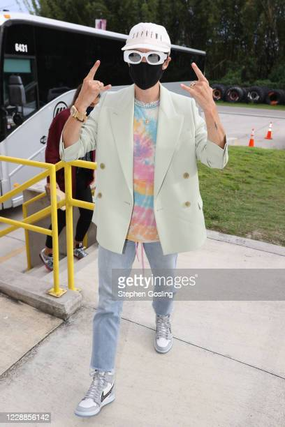 Professional soccer player Megan Rapinoe arrives to the arena before Game One of the WNBA Finals on October 2 2020 at Feld Entertainment Center in...
