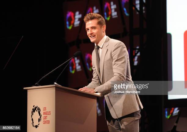 Professional soccer player Robbie Rogers speaks onstage at Los Angeles LGBT Center's 48th Anniversary Gala Vanguard Awards at The Beverly Hilton...