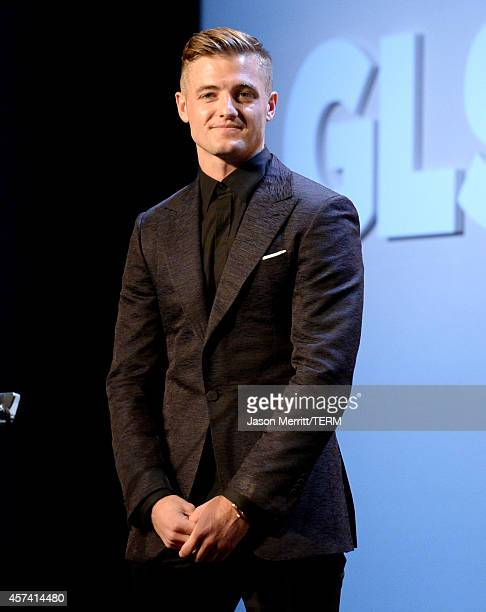 Professional soccer player Robbie Rogers speaks onstage at the 10th annual GLSEN Respect Awards at the Regent Beverly Wilshire Hotel on October 17...