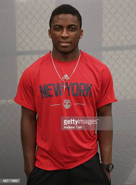 Professional soccer player with the New York Red Bulls Ambroise Oyongo participates in the LLS Soccerfest hosted by the Leukemia Lymphoma Society and...