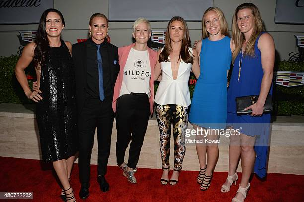 Professional soccer players Ali Krieger Ashlyn Harris Megan Rapinoe Kelley O'Hara Becky Sauerbrunn and Alyssa Naher attend BODY at ESPYs at Milk...