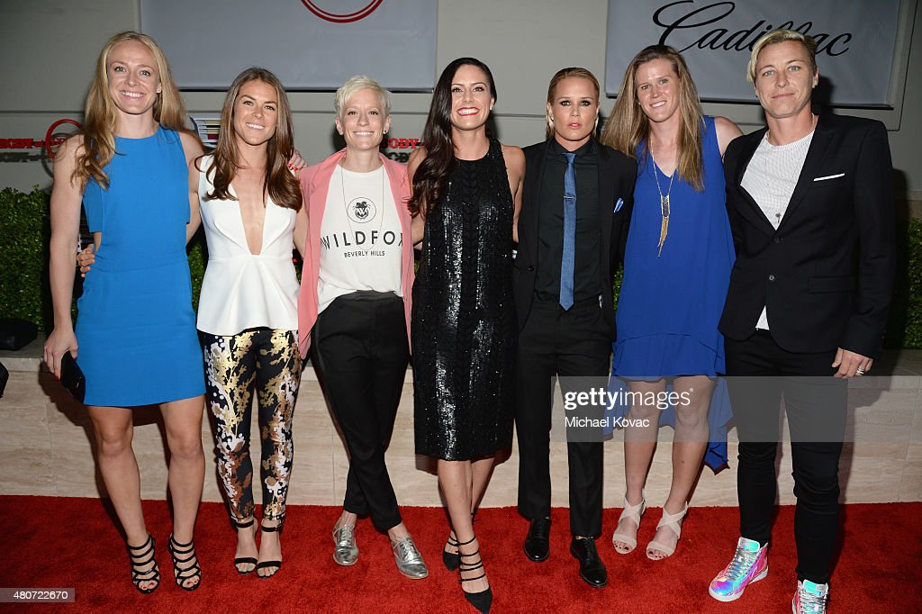 Professional soccer players Becky Sauerbrunn, Kelley O'Hara, Megan Rapinoe, Ali Krieger, Ashlyn Harris, Alyssa Naher and Abby Wambach attend BODY at ESPYs at Milk Studios on July 14, 2015 in Hollywood, California.