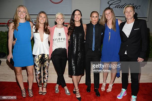 Professional soccer players Becky Sauerbrunn Kelley O'Hara Megan Rapinoe Ali Krieger Ashlyn Harris Alyssa Naher and Abby Wambach attend BODY at ESPYs...