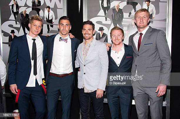 """Professional soccer players Brek Shea, Geoff Cameron, Heath Pearce, Dax McCarty, and Ryan Meara attend the """"Now You See Me"""" premiere at AMC Lincoln..."""
