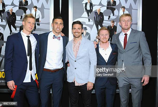 Professional soccer players Brek Shea, Geoff Cameron, Heath Pearce, Dax McCarty, and Ryan Meara attends the 'Now You See Me' premiere at AMC Lincoln...