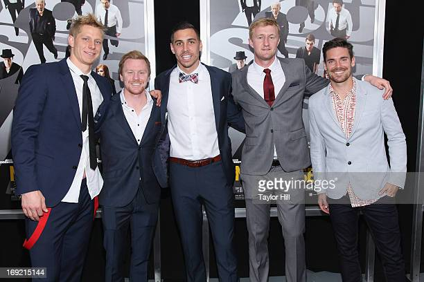 Professional soccer players Brek Shea, Geoff Cameron, Heath Pearce, Dax McCarty, and Ryan Meara attend the 'Now You See Me' premiere at AMC Lincoln...