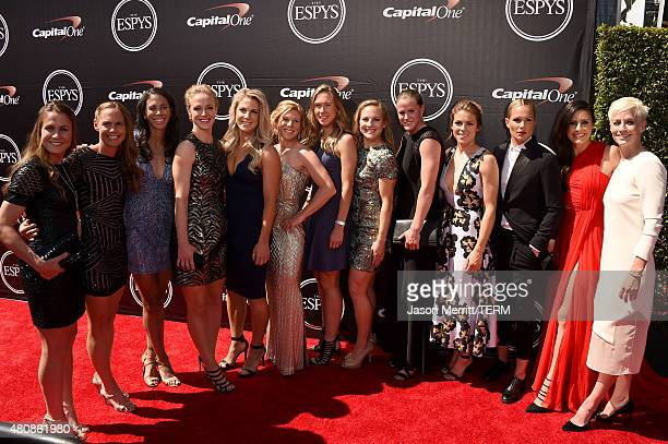 Professional soccer players Heather O'Reilly Christine Rampone Shannon Boxx Becky Sauerbrunn Julie Johnston LoriChalupny Whitney Engen Amy...