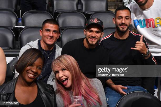 Professional Soccer Players Luis Reyes and Henry Martin attend a game between the Brooklyn Nets and the Los Angeles Lakers on March 22 2019 at...