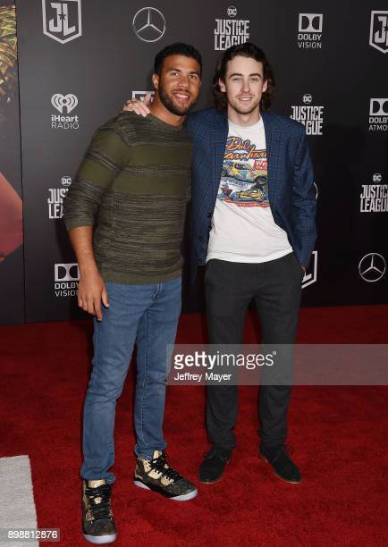 Professional stock car racing drivers Darrell 'Bubba' Wallace Jr and Ryan Blaney arrive at the Premiere Of Warner Bros Pictures' 'Justice League' at...