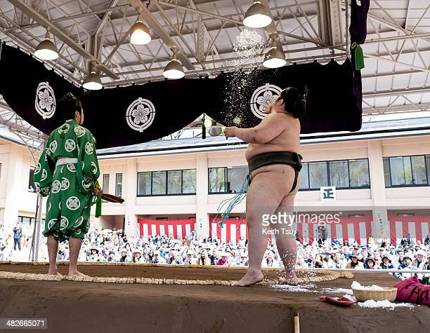 A professional sumo wrestler throws salt into the ring during the Ceremonial Sumo Tournament or Honozumo at the Yasukuni Shrine on April 4 2014 in...