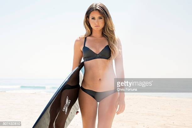 Professional surfer Anastasia Ashley is photographed for FHM Magazine on April 14 2015 in Malibu California