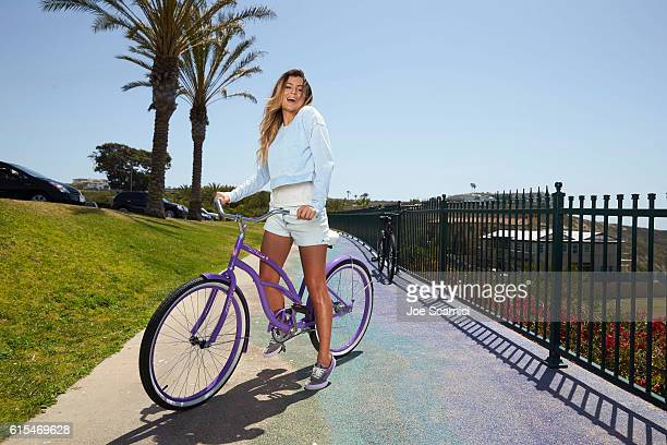 Professional surfer Anastasia Ashley is photographed on Strands Beach for Airwalk on June 1 2015 in San Diego California