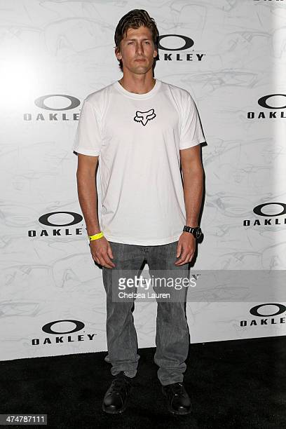 Professional surfer Bruce Irons arrives at Oakley's Disruptive by Design at Red Studios on February 24 2014 in Los Angeles California