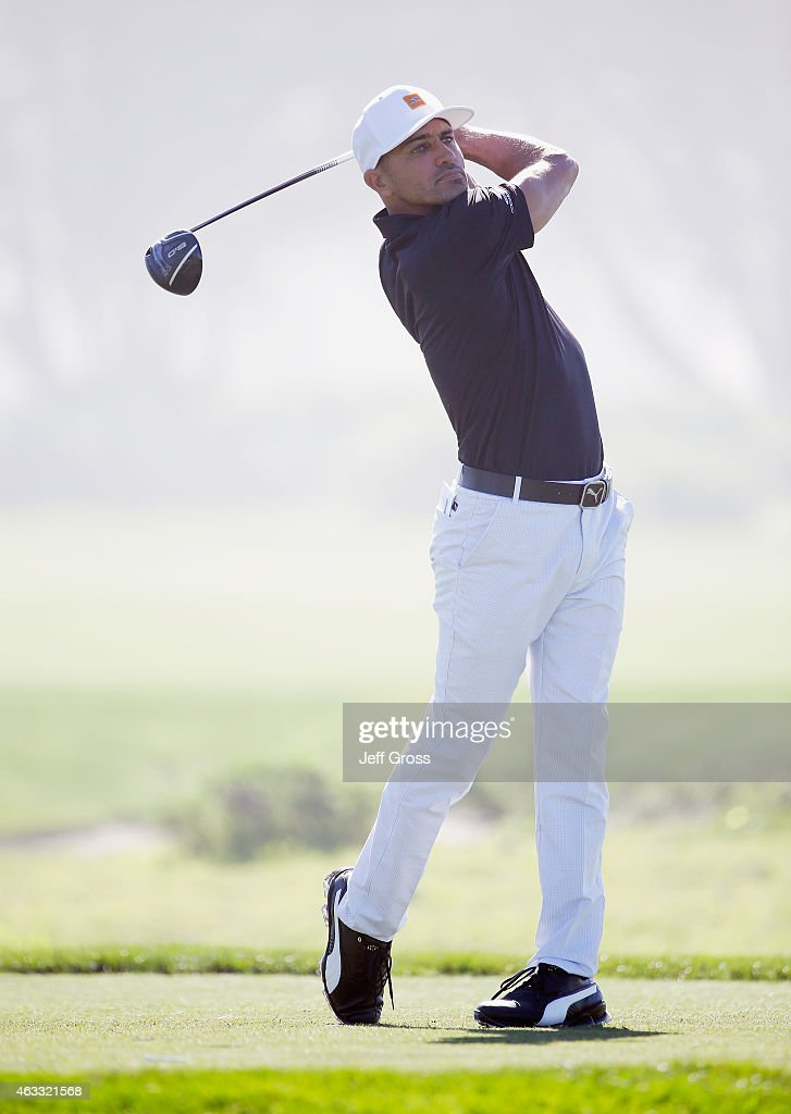 Professional surfer Kelly Slater in action during the first round of the AT&T Pebble Beach National Pro-Am at Monterey Peninsula Country Club on February 12, 2015 in Pebble Beach, California.