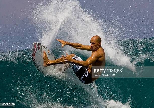 Professional surfer Kelly Slater of the US performs a floater while surfing the Eastcoast July 2008 in Bali Indonesia
