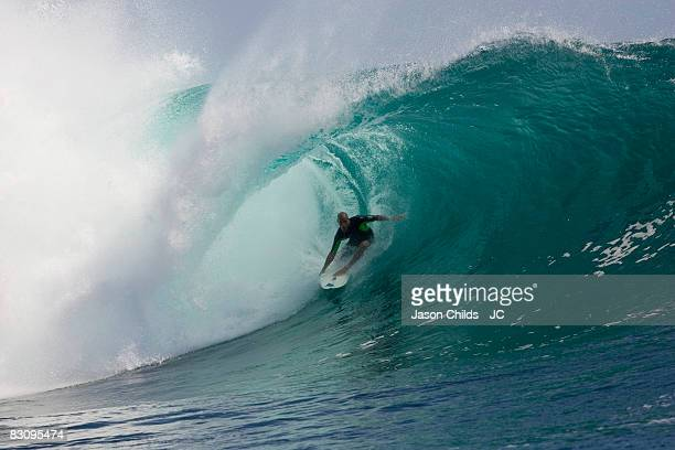 Professional surfer Kelly Slater of the US riding the tube in the jungles of Grajagan East Java Indonesia July 2008 in Grajagan Indonesia