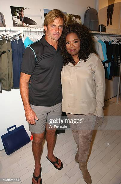 Professional surfer Laird Hamilton and Oprah Winfrey attend the launch of Laird Apparel by Laird Hamilton at Ron Robinson on October 22, 2015 in...