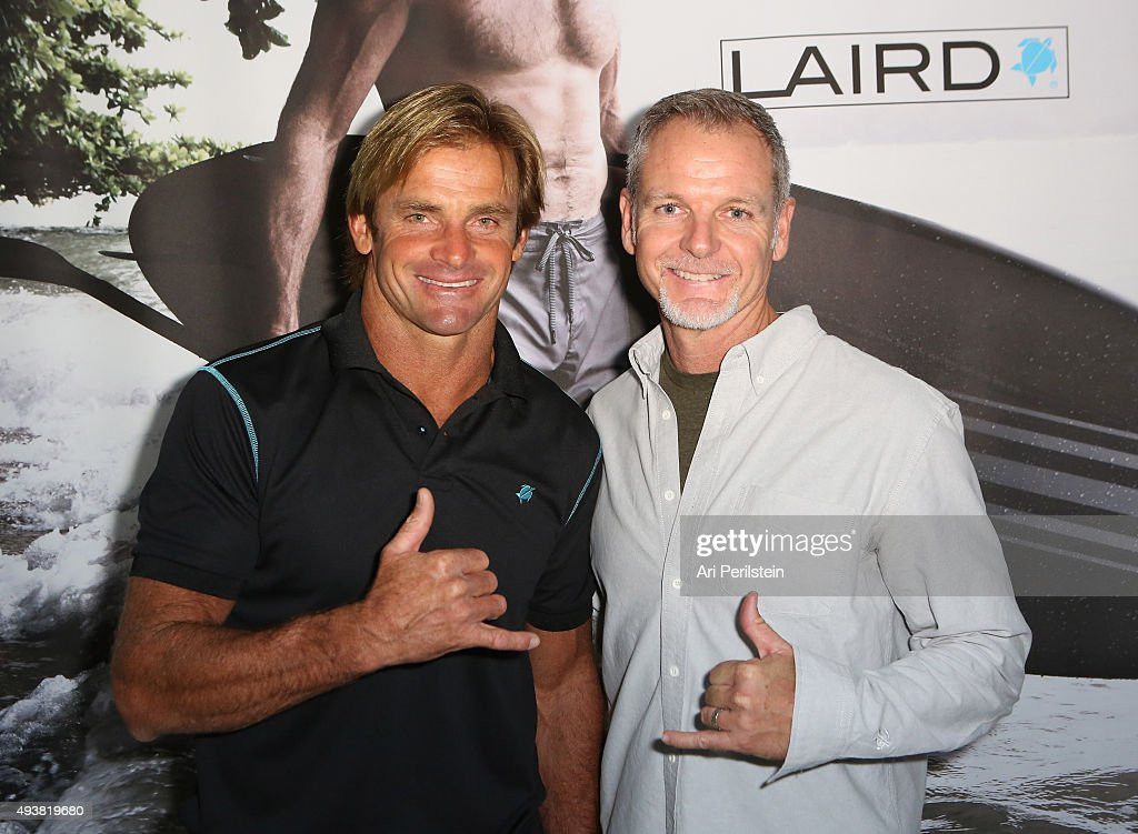 Professional surfer Laird Hamilton and President of Laird Apparel Tim Garret attend the launch of their clothing line Laird Apparel by Laird Hamilton at Ron Robinson on October 22, 2015 in Santa Monica, California.