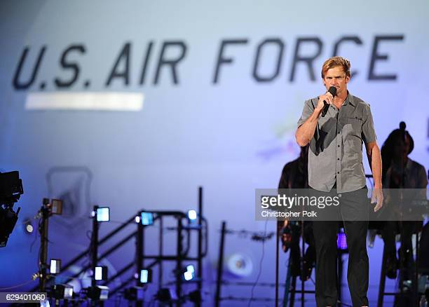 Professional Surfer Laird Hamilton speaks onstage during Spike's Rock the Troops event held at Joint Base Pearl Harbor Hickam on October 22 2016 in...