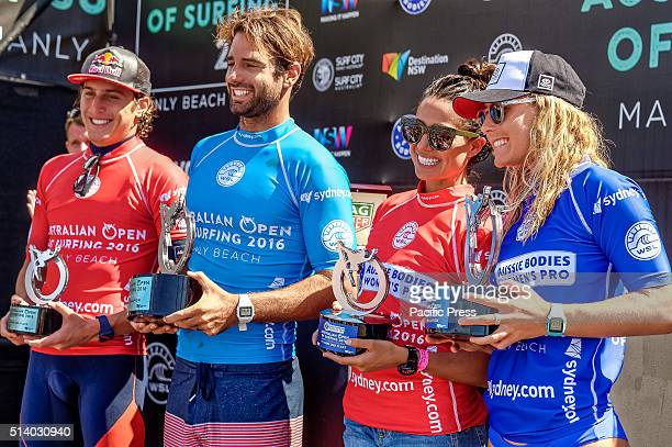 MANLY SYDNEY NSW AUSTRALIA Professional surfers Leonardo Fioravanti Dion Atkinson Malia Manuel and Nikki Van Dijk pose for photographs with their...