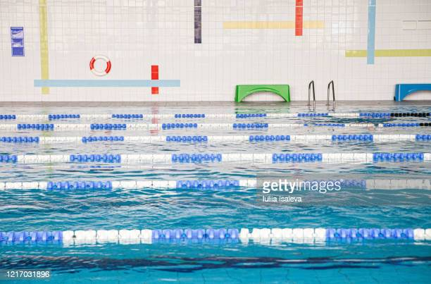 professional swimming pool with ripple water surface in sports club - スポーツ用語 ラップ ストックフォトと画像