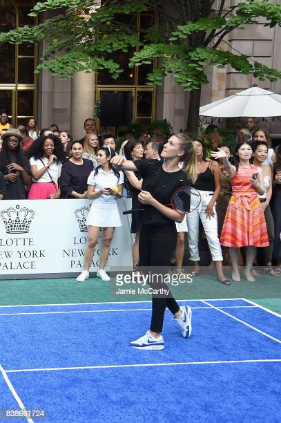 Professional tennis player Eugenie Bouchard competes during the 2017 Lotte New York Palace Invitational at Lotte New York Palace on August 24 2017 in...