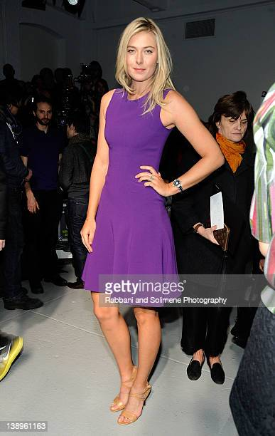 Professional tennis player Maria Sharapova attends the Rodarte fall 2012 fashion show during MercedesBenz Fashion Week on February 14 2012 in New...