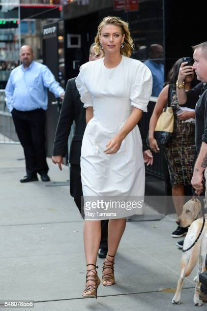 Professional tennis player Maria Sharapova leaves the 'Good Morning America' taping at the ABC Times Square Studios on September 12 2017 in New York...