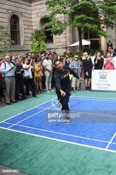 Professional tennis player Nick Kyrgios competes during the 2017 Lotte New York Palace Invitational at Lotte New York Palace on August 24 2017 in New...