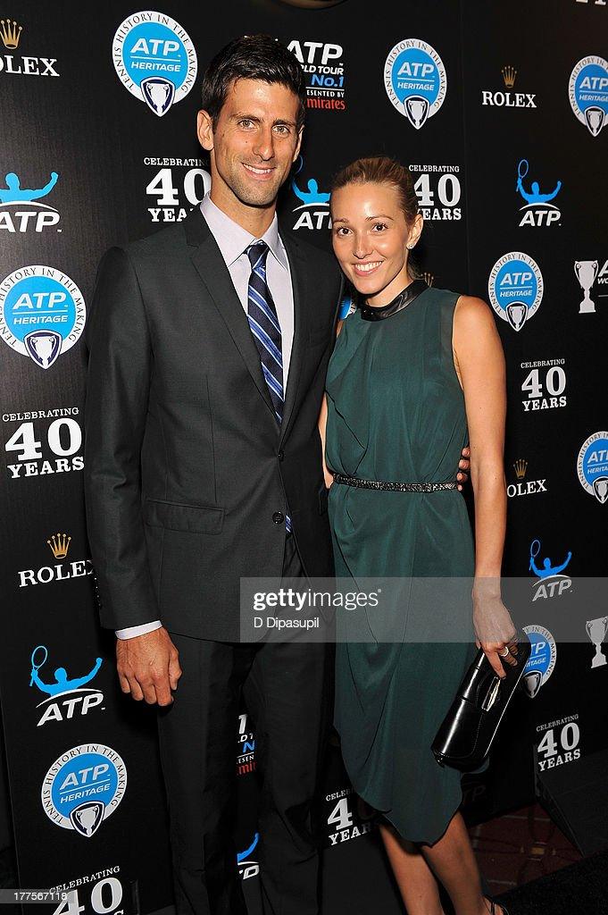 Professional tennis player Novak Djokovic (L) and Jelena Ristic attend the ATP Heritage Celebration at The Waldorf=Astoria on August 23, 2013 in New York City.