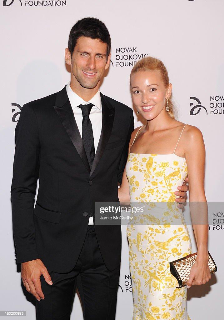 Professional tennis player Novak Djokovic and Jelena Ristic attend the Novak Djokovic Foundation New York dinner at Capitale on September 10, 2013 in New York City.