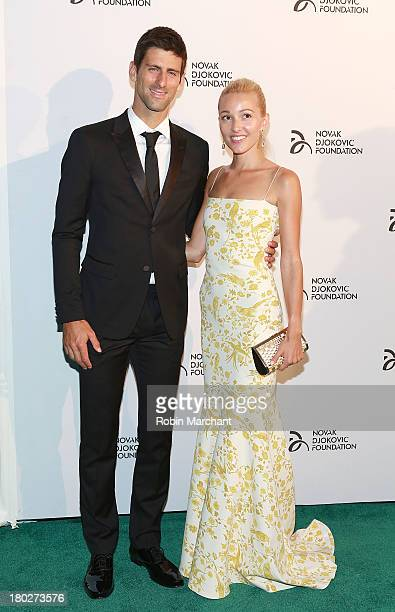 Professional tennis player Novak Djokovic and Jelena Ristic attend the 2013 Novak Djokovic Dinner at Capitale on September 10 2013 in New York City