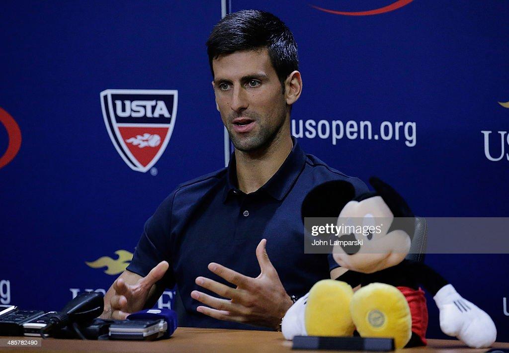 2015 US Open - Roger Federer And  Novak Djokovic Press Conference : News Photo