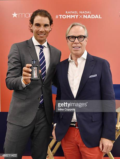 Professional tennis player Rafael Nadal and Tommy Hilfiger pose for a picture as Rafael Nadal makes a personal appearance at Macy's Herald Square at...