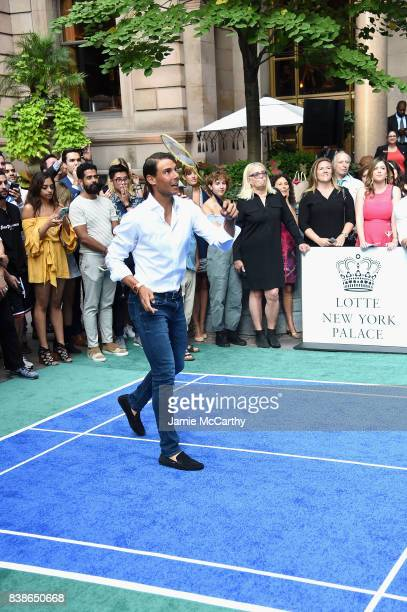 Professional tennis player Rafael Nadal competes during the 2017 Lotte New York Palace Invitational at Lotte New York Palace on August 24 2017 in New...