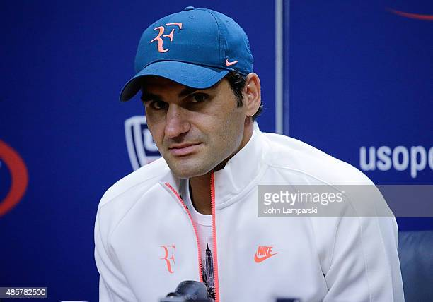 Professional tennis player Roger Federer attends a press conference during the 2015 US Open at the USTA Billie Jean King National Tennis Center on...