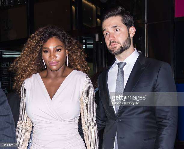 Professional tennis player Serena Williams and CoFounder of Reddit Alexis Ohanian are seen leaving the HBO documentary series premiere of 'Being...