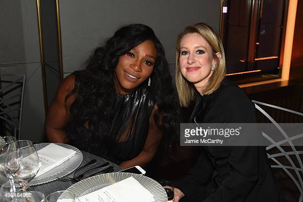 Professional tennis player Serena Williams and honoree Elizabeth Holmes attend the 2015 Glamour Women of The Year Awards dinner hosted by Cindi Leive...