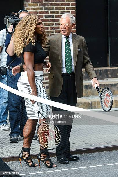 Professional tennis player Serena Williams and television personality David Letterman play tennis at the 'Late Show With David Letterman' at the Ed...