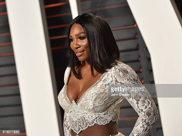Professional tennis player Serena Williams arrives at the 2016 Vanity Fair Oscar Party Hosted By Graydon Carter at Wallis Annenberg Center for the...