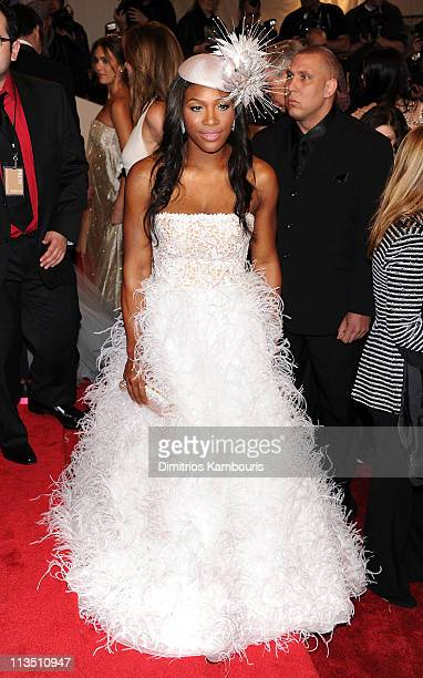 Professional tennis player Serena Williams attends the 'Alexander McQueen Savage Beauty' Costume Institute Gala at The Metropolitan Museum of Art on...