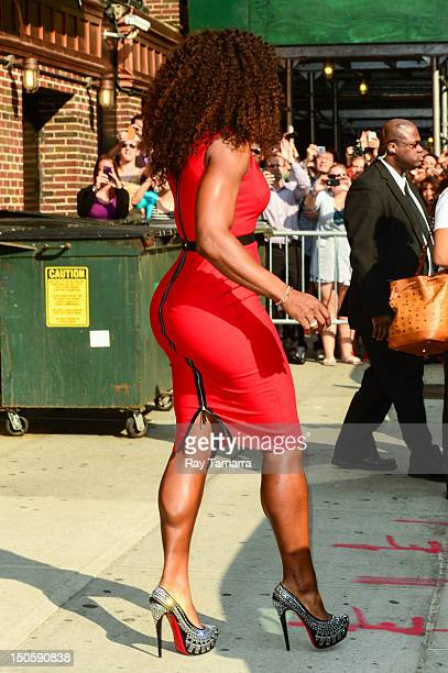 Professional tennis player Serena Williams leaves the 'Late Show With David Letterman' taping at the Ed Sullivan Theater on August 22 2012 in New...