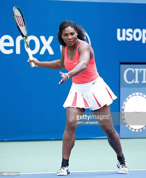 Professional tennis player Serena Williams participates during the 20th Annual Arthur Ashe Kids' Day at USTA Billie Jean King National Tennis Center...