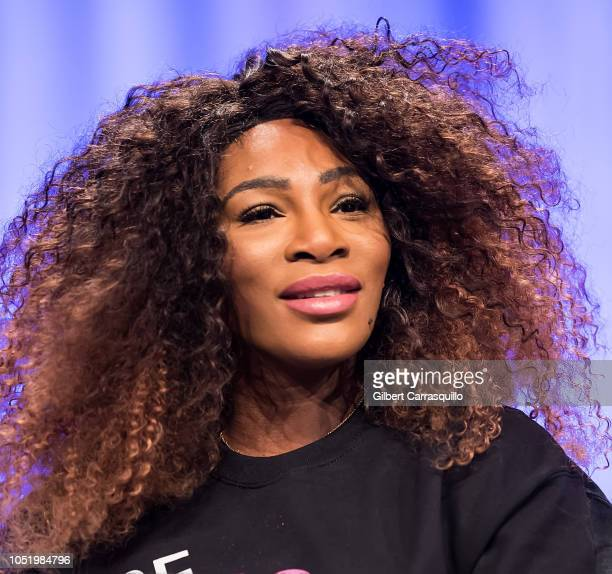 Professional tennis player Serena Williams speaks on stage during Pennsylvania Conference for Women 2018 at Pennsylvania Convention Center on October...