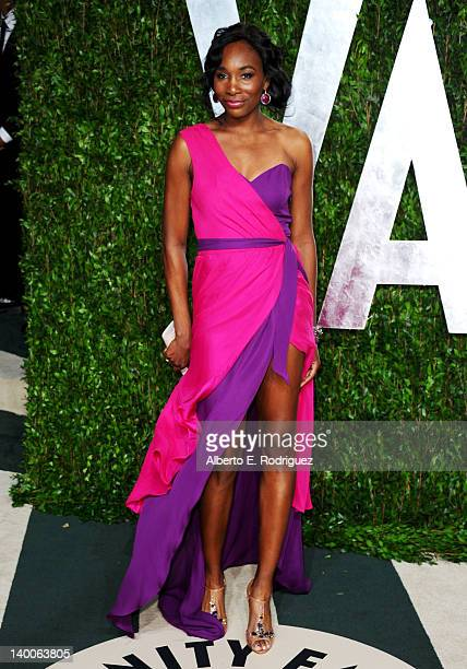 Professional tennis player Venus Williams arrives at the 2012 Vanity Fair Oscar Party hosted by Graydon Carter at Sunset Tower on February 26, 2012...